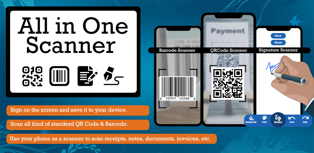 All in One Scanner QR Code, Barcode, Document PRO